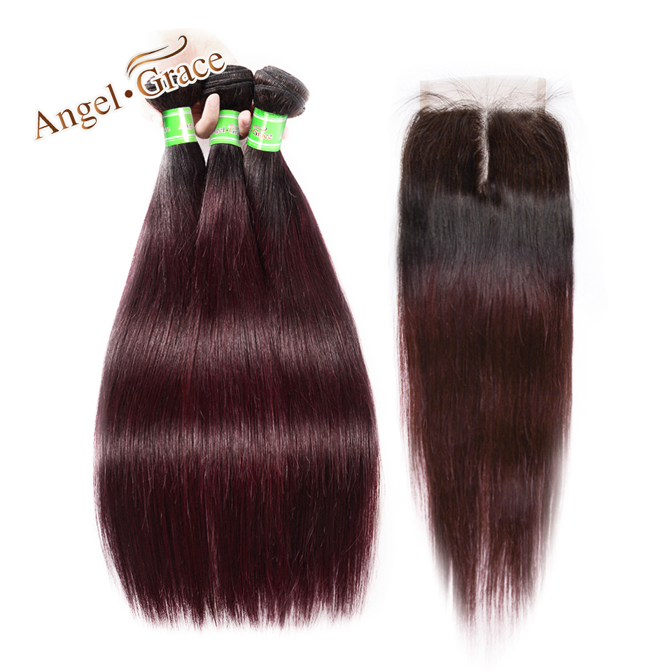 Angel Grace Hair Brazilian Straight Hair Weave 3 Bundles With Closure Remy Human Hair 1b 99j
