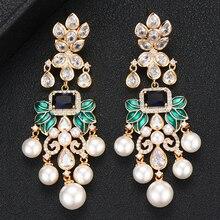 GODKI Luxury Simulated Pearl Tassel Drop Dangle Earrings Trendy Zircon Wedding Engagement Party Dubai Earrings for women 2019