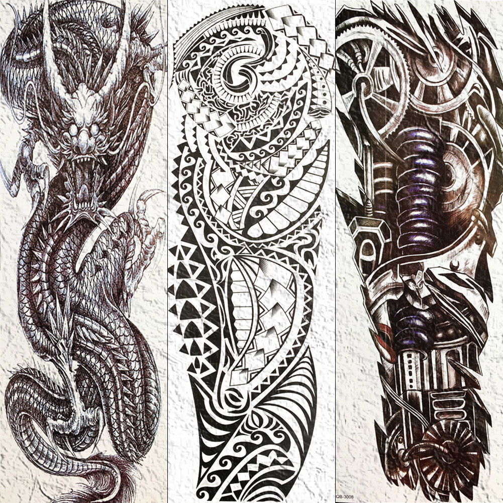 Maori Full Body Tattoo For Men: Full Mechanical Robotic Arm Temporary Tattoo Waterproof
