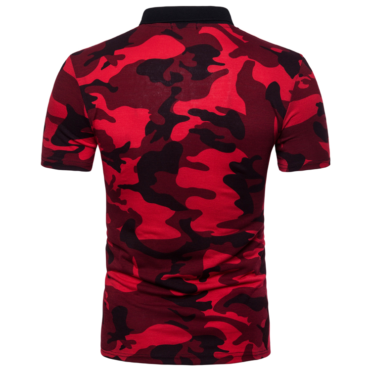 Men's Top Regular Gradient Print Breathable Cotton Short Sleeve 2018 Spring And Summer New Casual Camouflage Polo Shirt 39