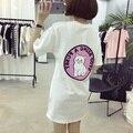 Harajuku 2017 Vestido T Shirt Mulheres Tops Kawaii PARAR BEIN Um BICHANO Camiseta Femme T-shirt Camiseta Casual Vestido Blusa