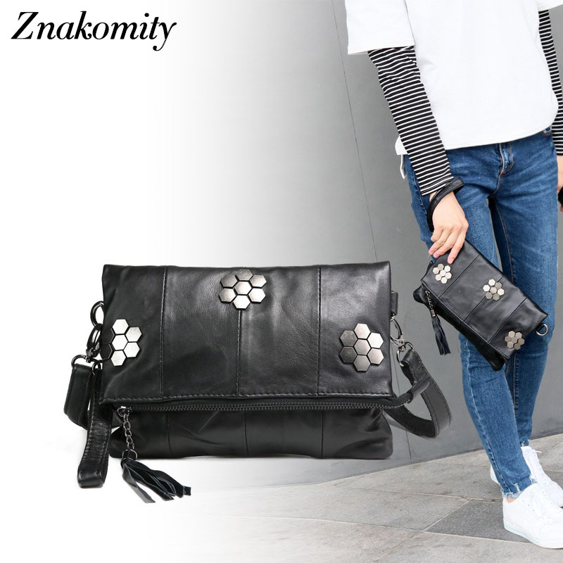 Znakomity Black envelope party clutch bag female Women's handbag Genuine leather shoulder bag women Tassel folding messenger bag women day clutch genuine leather envelope bag banquet women handbag vintage cowlayer messenger bag
