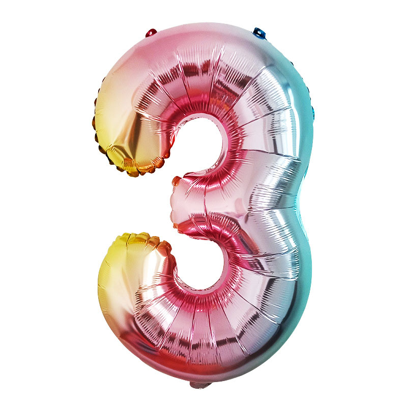 Image 5 - STARLZMU 1pcs 32inch Rainbow Number Balloons 0 1 2 3 4 5 6 7 8 9 Digital Foil Balloon 1st Birthday Party Decoration Air Globos-in Ballons & Accessories from Home & Garden