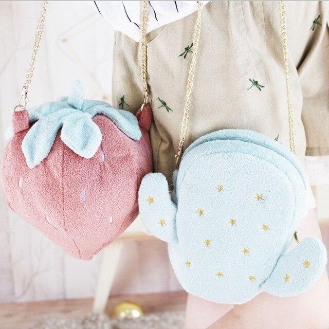 7827f12ae3 Cute Fruit shoulder bag Girl Strawberry children backpack toy plush animal  backpack for children The kids