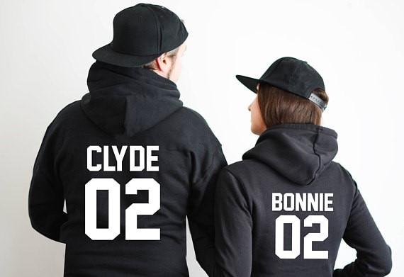 Bonnie y clyde parejas hoodie sudaderas con capucha parejas hoodies ...