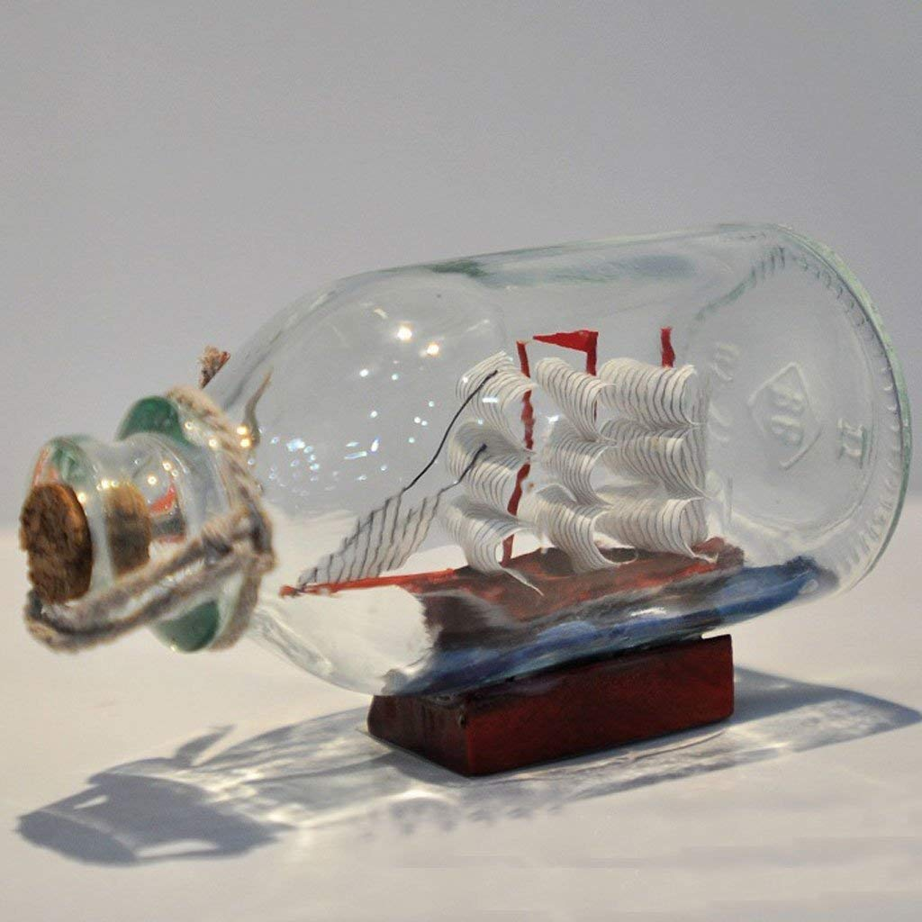 Glass Pirate Ship Sailing Boat Wishing Drift Bottle Home Office Decor Gift Colorful
