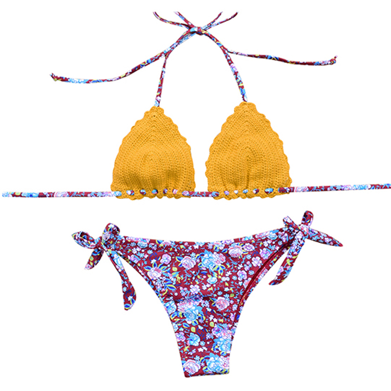 OUYI Crochet Bikini Sexy 2018 Knitted Swimsuit Female Slide Triangle Crochet Swimwear Print Adjustable Ties At Side Thong modern 3 color adjustable triangle