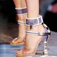 a966c11b1 ... Mulher Cinta Desliza Sapatos Festa. 2017 New Arrival Abnormal Jeweled  Heels Rhinestone Crystal Embellished High Heel Sandals Ankle Strap Lock  Summer