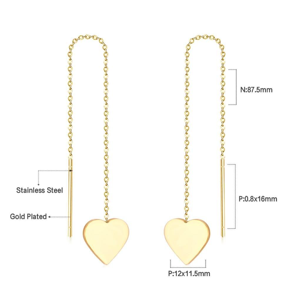 LUXUSTEEL Heart Tassel Chains Drop Earrings Stainless Steel Gold Silver Minimalist Geometry Long Earring Collier Bijoux in Drop Earrings from Jewelry Accessories