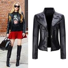 Модные элегантные осень-зима кожаная куртка Для женщин короткий черный PU кожаные пальто дамы тонкий мотоциклов jaqueta couro oc31