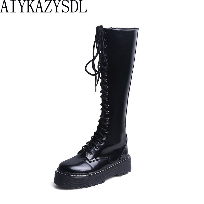 HAIYUELI Women Knee High Faux Leather Boots Ridding Knight Bootie Motorcycle Biker Boots Military Thick Heel Platform Shoes 2018 hongyi women motorcycle biker ankle boots glossy leather rhinestone crystal ridding bootie bow butterfly knot shoes thick heels
