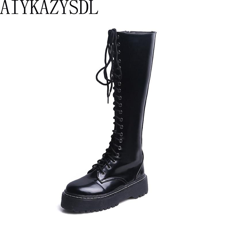 2018 Grueso Black Botas Cuero Rodilla Plataforma Del La Motocicleta Mujer Faux Haiyueli Librar Caballero De Zapatos Talón Militares TpHanqIZ