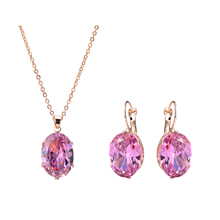 2017 Wedding Rose Gold Color Jewelry Sets Big CZ Zircon Blue Stone Pendant Choker Necklace Earrings For Women Mother's Day Gift