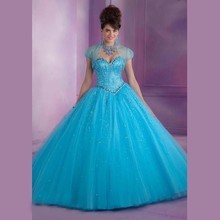 2016 Elegant Tulle Sweetheart Ball Gown Custom Made Long Quinceanera Dresses For Girls 15 Year Sweet 15 Party Gowns Vintage Gown