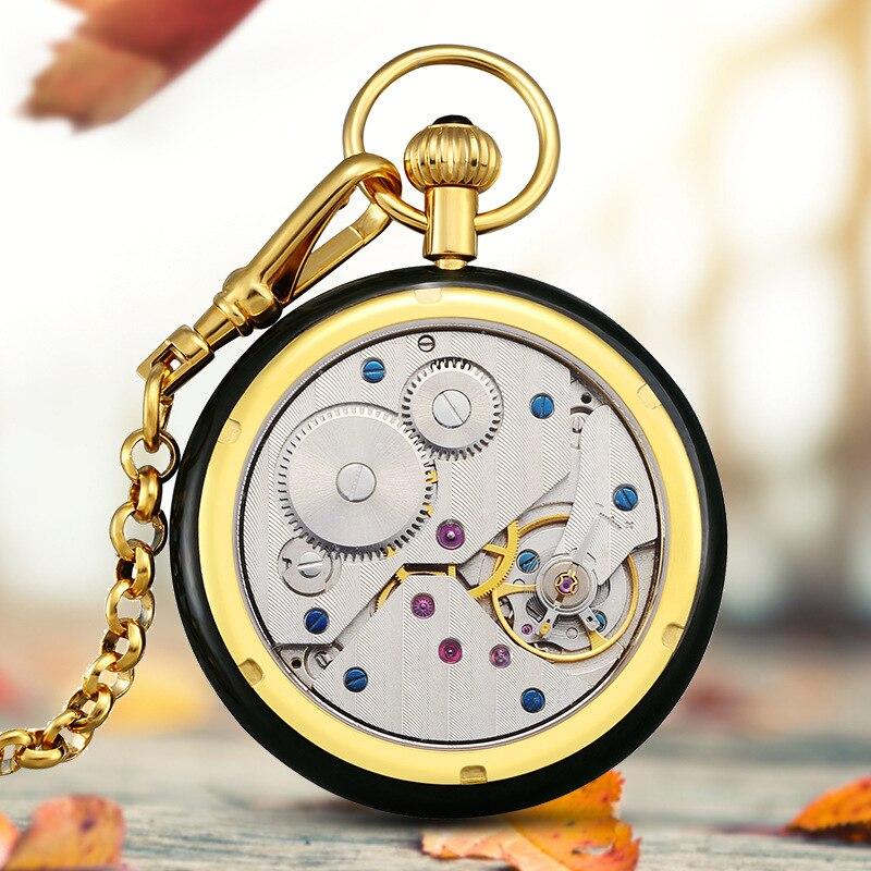 Топ класса люкс Хотан нефрита карманные мужские часы механические часы полый алмаз пилотируемые карманные часы Relogio Masculino