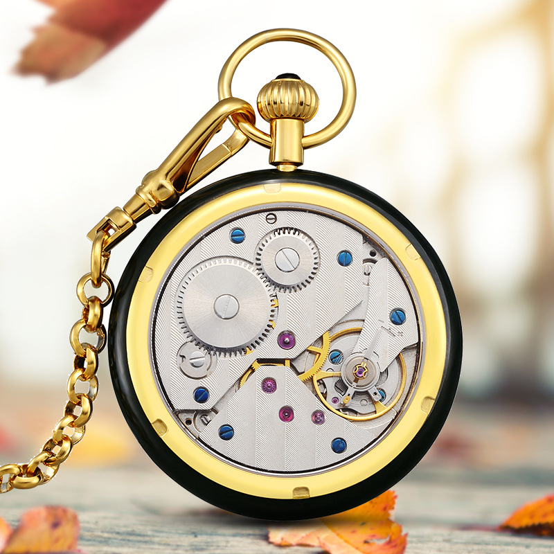 Top Luxury Hetian Jade Jade Pocket Men Watch Mechanical Watch Hollow Diamond Manned Pocket Watch Relogio Masculino