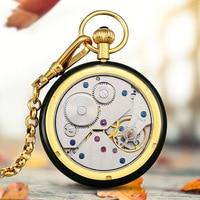 Top Luxury Hetian Jade Jade Pocket Men Watch Mechanical Watch Hollow Diamond Manned Pocket Watch Relogio Masculino