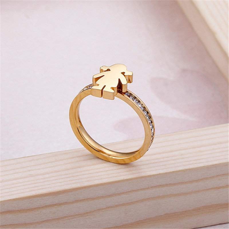 Cute Stainless Steel Cz Wedding Bands Cartoon Girl Finger Rings Lady