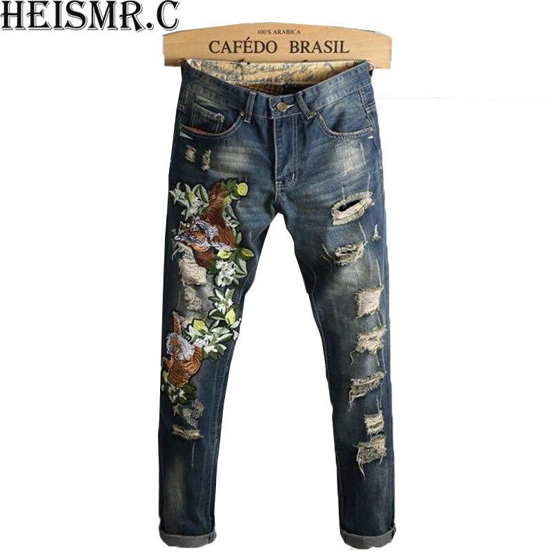 Men/'S Long Pants Men Fashion Flower Embroidery Jeans Mens Casual Holes Jeans Male Designer Trousers Stretch Denim Pants BDK13