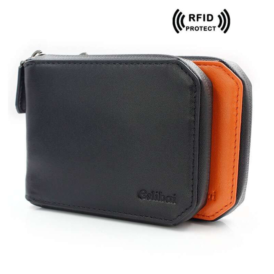 Rfid Blocking Mens Wallet Leather Genuine Coin Purse Short Designer Credit Card Holder RFID Wallets Top Quality Zipper Money Bag mens wallets black cowhide real genuine leather wallet bifold clutch coin short purse pouch id card dollar holder for gift