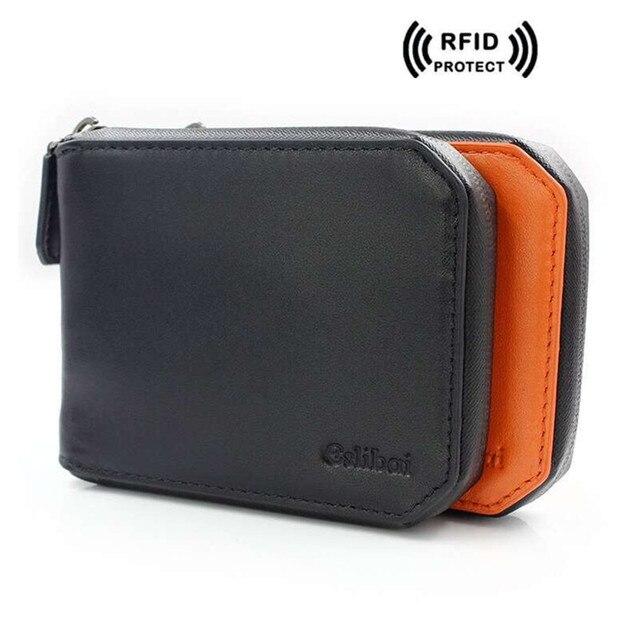 Rfid bloqueo cartera para hombre cuero genuino monedero corto diseñador tarjeta  de crédito titular RFID carteras 7d84dd3af997