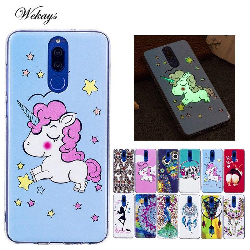 Wekays Luminous Case For Coque Huawei Mate 10 Lite /Mate10 lite Cute Cartoon Unicorn Owl Skull Silicone Fundas Cover Cases Capa