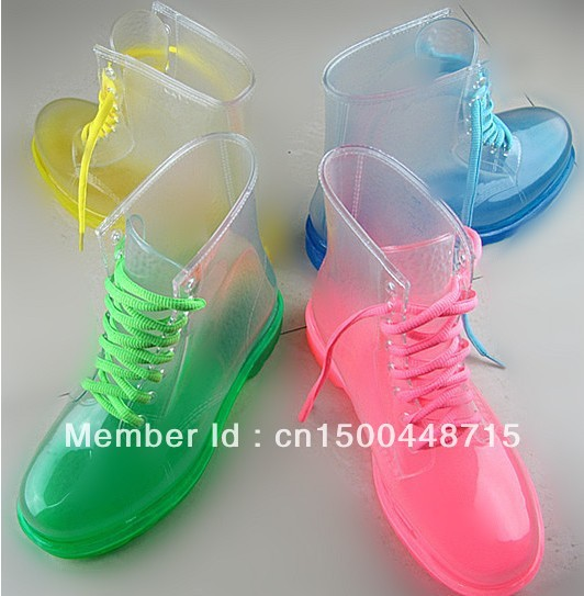 Free Shipping!2013 PVC Transparent Womens Colorful Crystal Clear Flats Heels Water Shoes Female Rainboot Martin Rain Boots