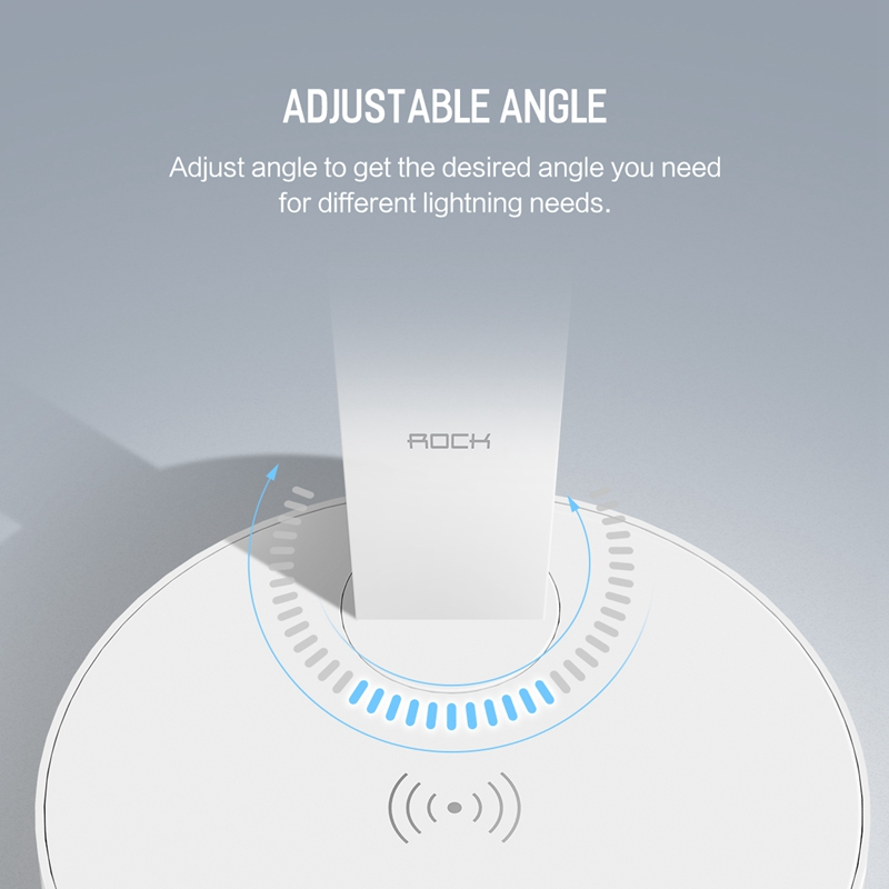 ROCK Smart Wireless Charger Desktop Lamp, Adjustable Touch control table lamp with Wireless charger pad