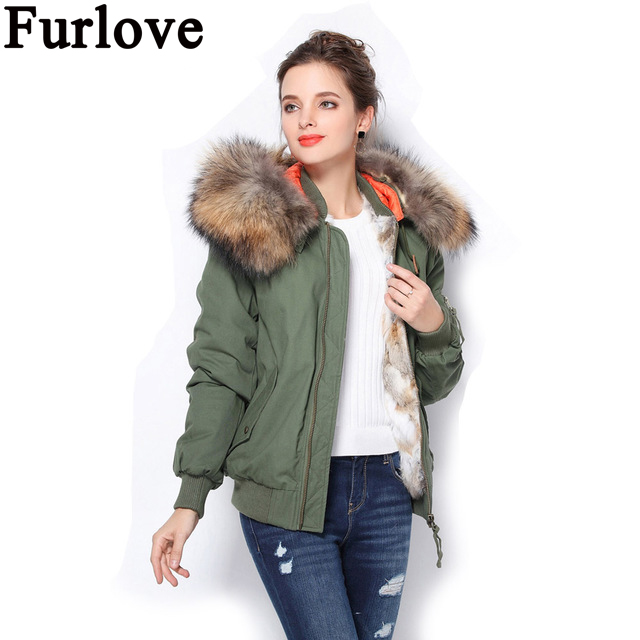 Furlove Winter Women Fashion Army Green Large Raccoon Fur Collar Hooded Coat Parkas Outwear Rabbit Fur Lining Bomber Jacket 2017 winter new clothes to overcome the coat of women in the long reed rabbit hair fur fur coat fox raccoon fur collar