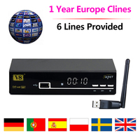 1 Year Europe Cline Server Freesat V8 Super DVB S2 Satellite Receiver HD 1080P Receptor Italy