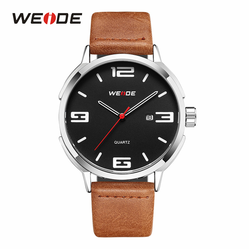 WEIDE Men Sports Male Clock Quartz Movement Analog Display Black Dial Wrist Watches Brown Leather Strap Band Buckle Quartz Watch fabulous 2016 quicksand pattern leather band analog quartz vogue wrist watches 11 23