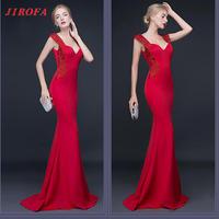 IRF0207 New Winter Woman Long Dress Elegant V Neck Sleeveless Bule Bodycon Dress Slim Ladies For