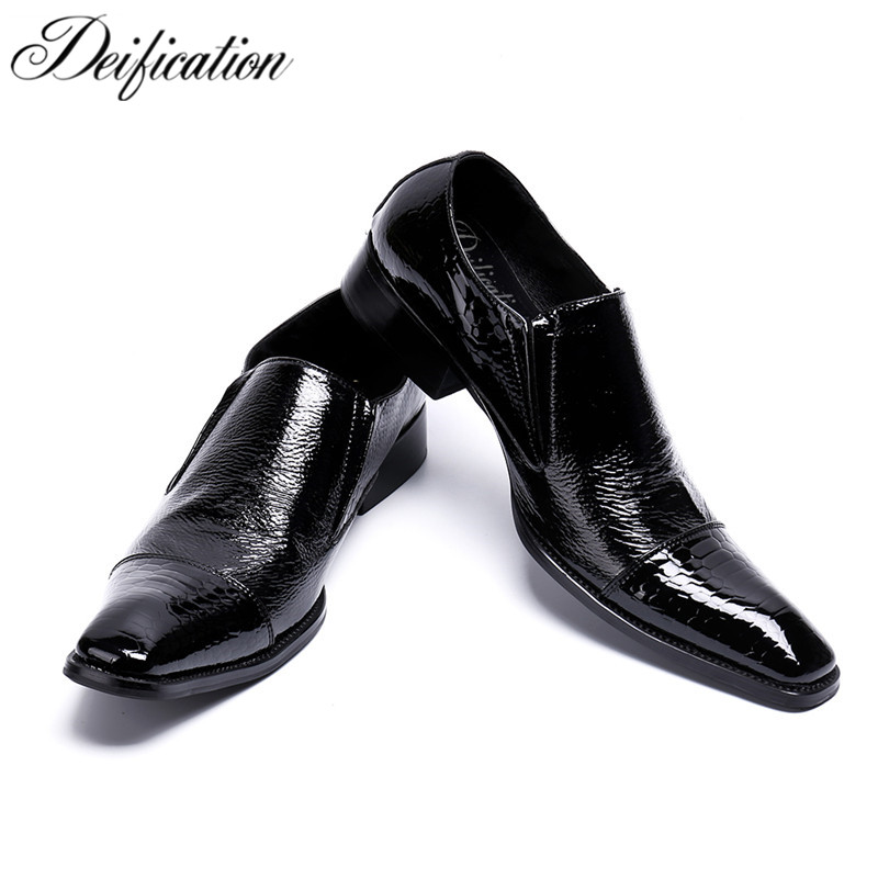Deification Italian Style Solid Business Man Dress Shoes Square Toe Formal Flats Genuine Leather Formal Shoes Oxfords For Men