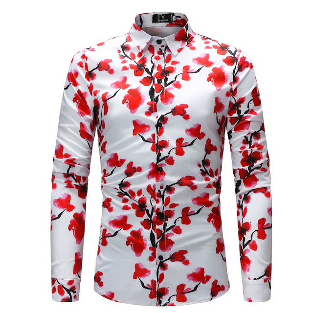 b9ab162bdc4 Brand Mens Slim Fit Long Sleeve Shirt Camisa 2018 Fashion Luxury Rose  Floral Print Dress Shirt Men Casual Shirts Chemise Homme