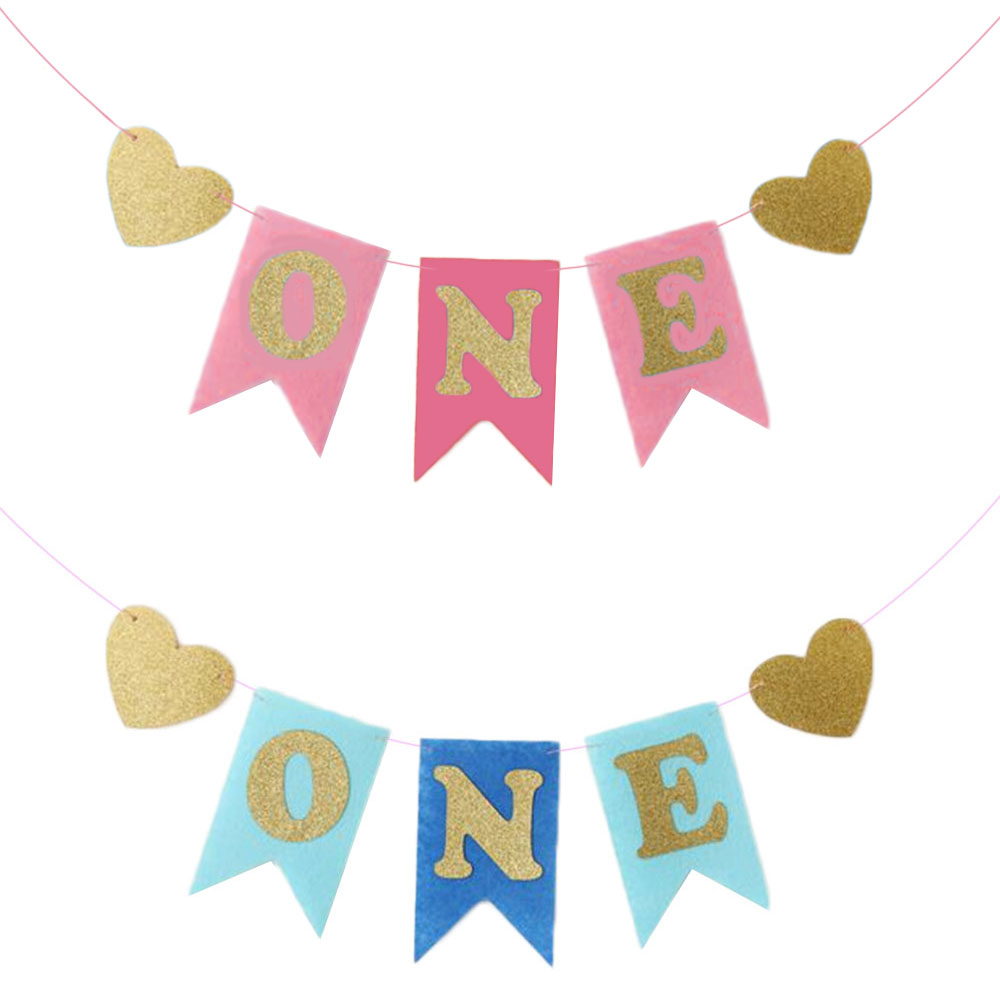 Paper Happy Birthday Banner Baby Shower Party Decoration Supplies Pink/Blue DIY