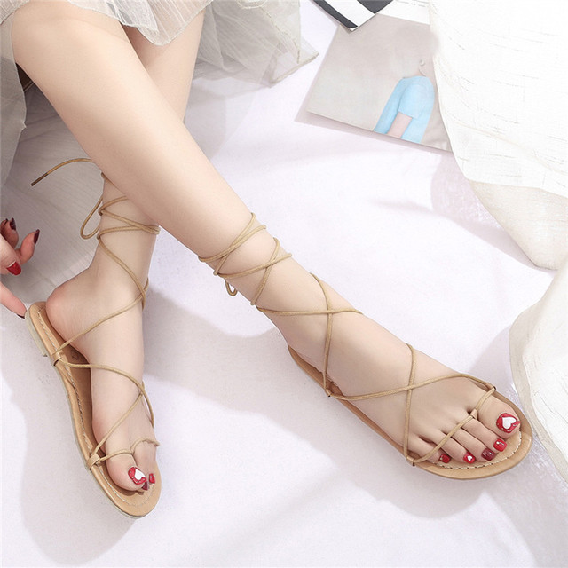 ee29ce962 SIKETU Women Fashion Cross-tied Ankle Strap Boho Sandals Flat Sandals Jn5  Y35