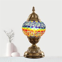 Fashion Turkish Mosaic Table Lamp Hand Inlaid LED Glass Night Light Lampsahde Bedroom Bedside Decoration Vintage Table Lamp