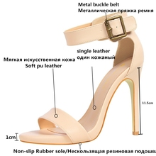 Summer Heel Women High Heels Sandals Ankle Strap Buckle black Sexy Thin Ladies Sandal Leather women's High-heeled Shoes G1408-2