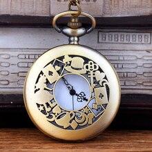 Кварцевые карманные часы полые женские шляпа игральные карты кулон с Цепочки и ожерелья часы для Для мужчин Для женщин свитер Сеть аксессуары Подарки
