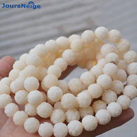 Wholesale White Natural Bodhi Bracelet Carved Lotus 114 Bodhi Buddha Bead Hand String for Men Women DIY Tibetan Style Necklace