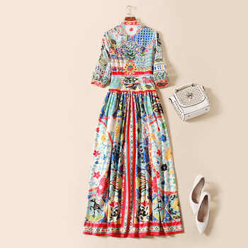 Fashion Ethnic Vintage Long Dresses 2018 3/4 Sleeve High Quality Luxury Patchwork Print Ankle Length Spring Runway Dress