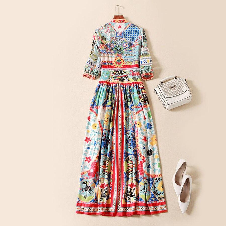 Moda etniczne Vintage długie suknie 2018 3/4 rękaw wysokiej jakości luksusowe Patchwork druku kostki długość wiosna Runway sukienka w Suknie od Odzież damska na  Grupa 2