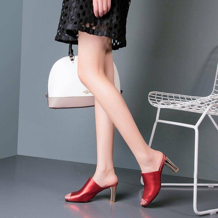 Echtem Gr spitze High Sommer Slipper Hausschuhe Schuhe Weibliche Heels {zorssar} Sandalen Frau Leder Offene Frauen Slides Aus EWHI2D9