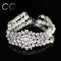 Exquisite multi layers pearl bracelets & bangles for women CZ diamond wedding party bridal's fashion jewelry wholesale E027