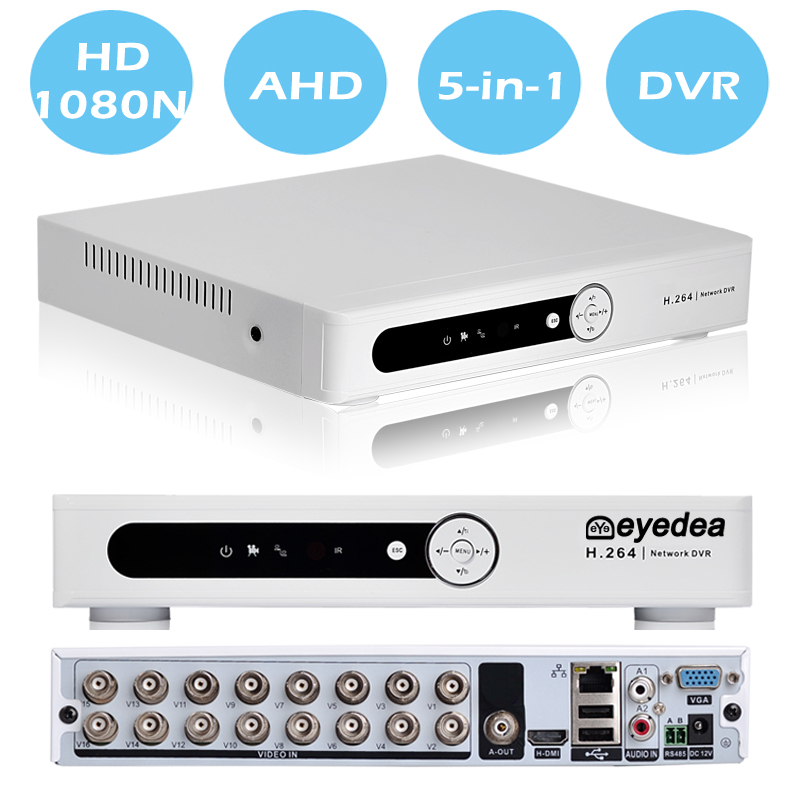 Eyedea 16 CH Phone View HDMI DVR 1080P Bullet Dome Outdoor Indoor LED Night Vision Burglar Alarm CCTV Security Camera System 2TB
