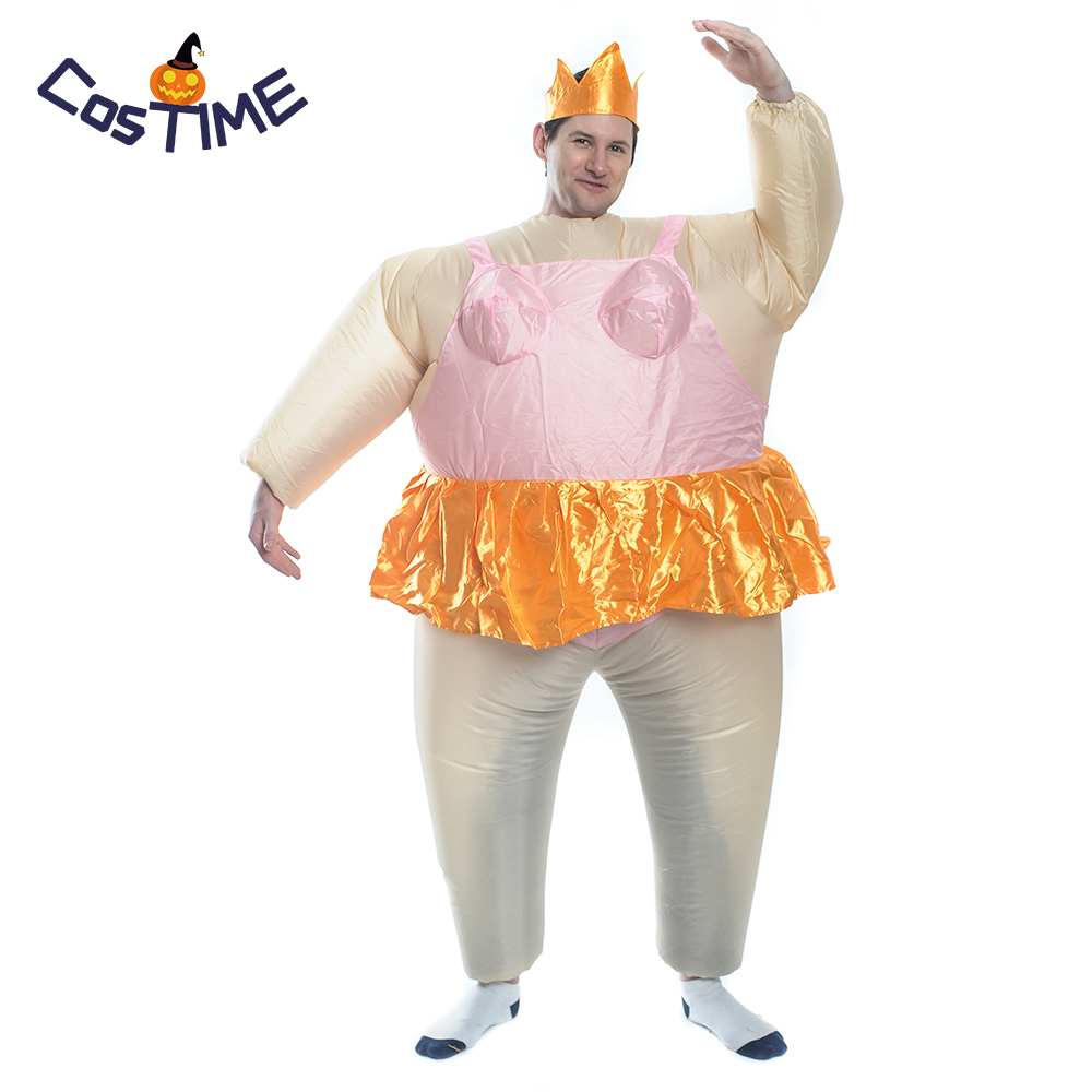 Inflatable Ballerina Adult Costume Blow Up Halloween Party Fancy Dress Fanny Fat Man Ballet Dancer Cosplay Inflatable Costume