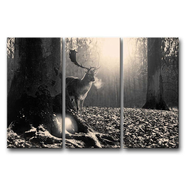 3 panels unframed canvas photo prints black white wall art painting deer in the forest