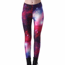 New Arrival 3001 Sexy Girl Galaxy Space Rose Purple Star Printed Elastic Fitness Polyester Workout Women