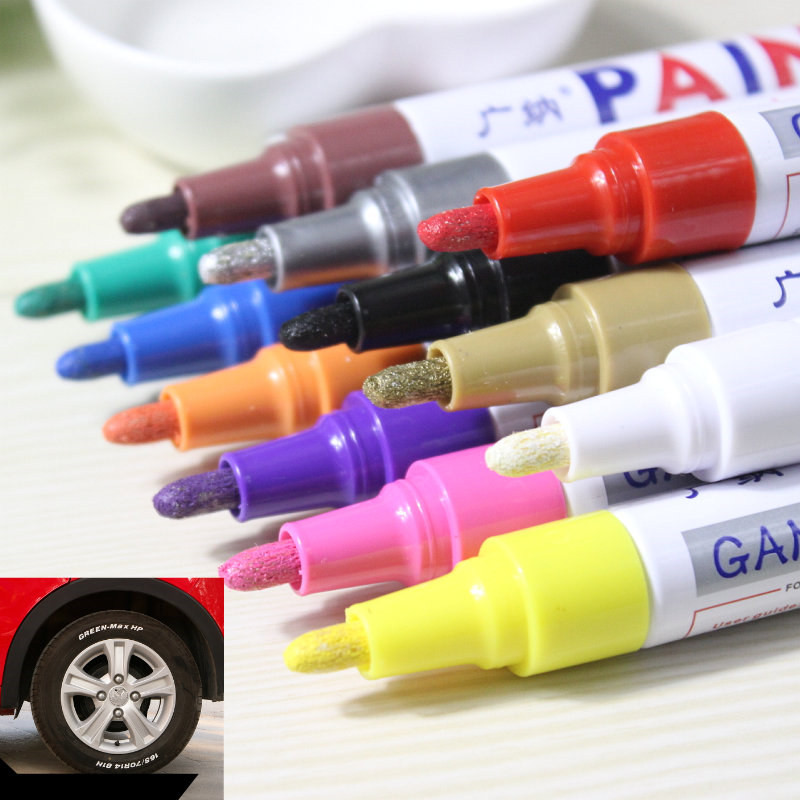 лучшая цена 12 Colors Waterproof Oil Based Colored Car Tyre Tire Tread CD Metal Permanent Paint Markers Graffiti Oily Marker Pen Stationery