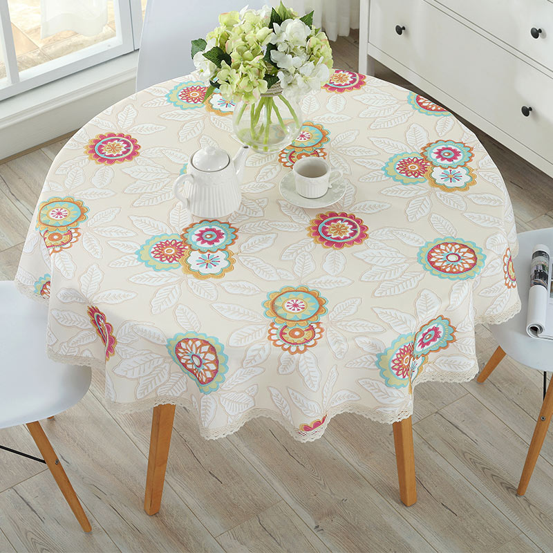 AliExpress & US $11.4 43% OFF|Pastoral PVC Round Table Cloth Waterproof Oilproof Floral Printed Lace Edge Plastic Table Covers Anti Hot Coffee Tablecloths-in ...